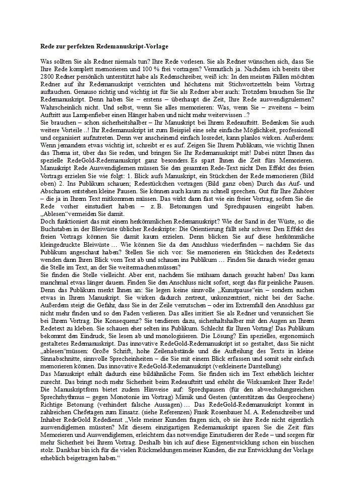 Herkömmliches Redemanuskript